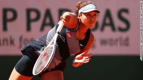 Naomi Osaka wins her French Open first round match in straight sets.