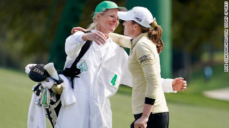 Migliaccio, his younger brother and mother Ulrika after losing the first hole of the playoffs to Tsubasa Kajitani in the Augusta National Women's Amateur tournament.