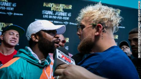 Mayweather and Jake Paul face off.
