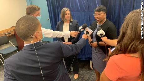 DCPS Superintendent Dr. Diana Greene speaking to reporters after the school board approved the name changes.