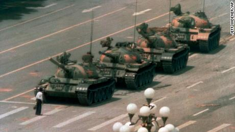 A man stands alone to block a line of tanks in Beijing on the iconic image of Tiananmen Square from 1989.