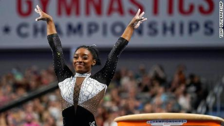 Simone Biles celebrates after competing in the vault during the US Gymnastics Championships earlier this month.