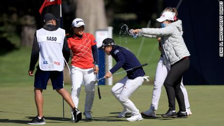 Saso is doused with water after winning the 76th U.S. Women's Open.