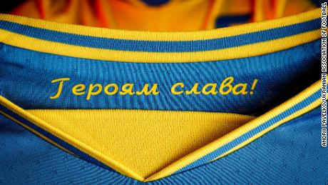 """The slogan """"Glory to the heroes"""" is printed inside the collar."""