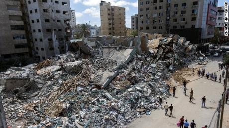 A drone photo of the destroyed building housing the offices of The Associated Press and other media, after it was hit last week by Israeli airstrikes, in Gaza City, Saturday, May 22, 2021.(AP Photo/Khalil Hamra)