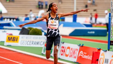 Hassan celebrates her world record - a brand that would only last two days.