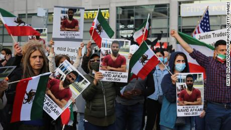 Iranians in Canada on Mel Lastman Square demonstrate against the execution of wrestler Navid Afkari by the Iranian regime, in Toronto, Ontario in September 2020. The death sentence caused international uproar, yet the regime persisted.