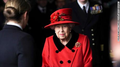 The monarch visits the HMS Queen Elizabeth ahead of the ship's maiden deployment on May 22, 2021 in Portsmouth, England.