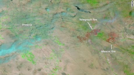 The extent of the burn area of the growing Telegraph and Mescal wildfires in Arizona can be seen on NASA satellites.