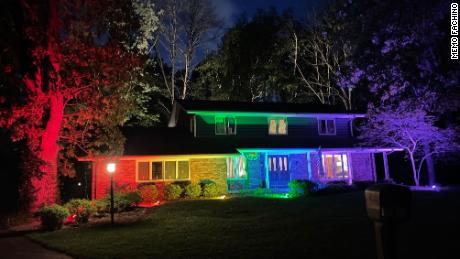 A Wisconsin couple couldn't fly their Pride flag, so they lit up their home like a rainbow