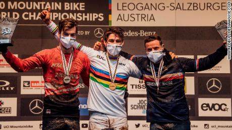 Wilson on top of the podium at the UCI DH World Championships in Leogang last October.
