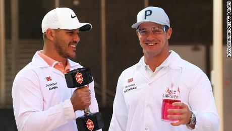 Koepka and DeChambeau attend the launch of The Abu Dhabi HSBC Championship.
