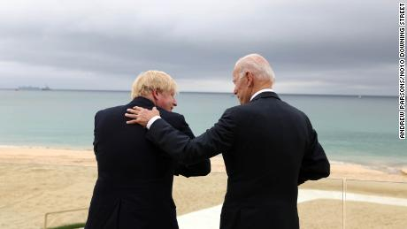 UK Prime Minister Boris Johnson and the US President Joe Biden chat in Carbis Bay, Cornwall, ahead of the G7 summit.