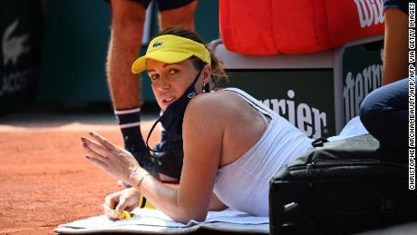 Anastasia Pavlyuchenkova receives a medical timeout during the second set.