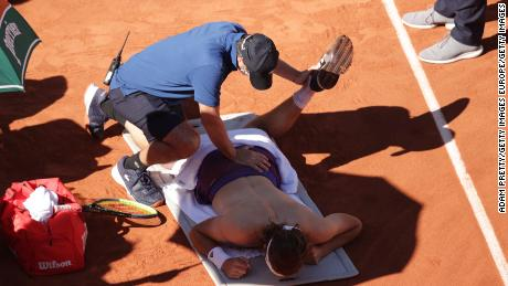 Stefanos Tsitsipas received medical treatment on court after the third set.