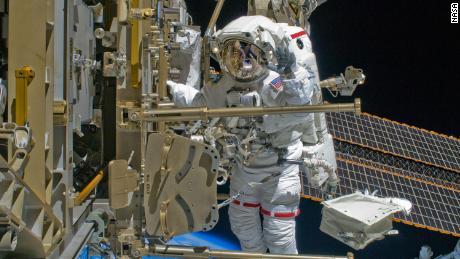Astronaut Shane Kimbrough is seen here during a 2008 spacewalk.