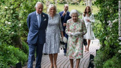 The Queen and other senior royals attend a reception with G7 leaders at The Eden Project in southwest England on June 11.