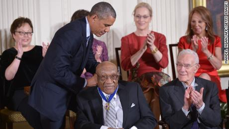 Then US President Barack Obama presents the Medal of Freedom to Sifford on November 24, 2014.