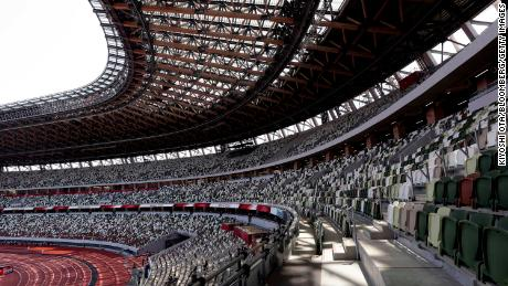 Empty seats are seen during an athletics test event for the Tokyo 2020 Olympic Games at Tokyo's National Stadium on May 9, 2021.