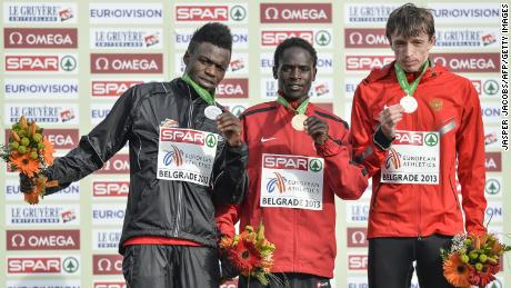 When Kimeli (left) won a silver medal at the European Cross-Country championships in Serbia, he devoted himself to his Olympic dream, which he hopes to achieve in Tokyo this summer.
