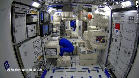 Three Chinese astronauts board the core module of China's still-under-construction space station on Thursday.