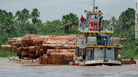 A vessel transports logs on a raft along the Murutipucu River in the municipality of Igarape-Miri in the region of Baixo Tocantins, northeast of Para, Brazil, on September 18, 2020.