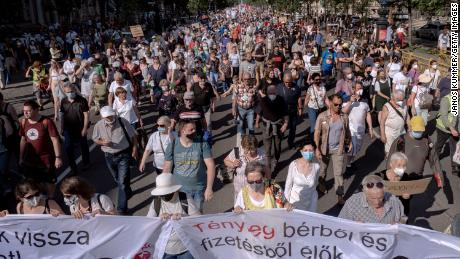 Protesters march in Budapest on June 5 during a demonstration against the planned Fudan University campus.