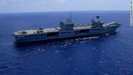 HMS Queen Elizabeth in the Mediterranean Sea on June 20, 2021.