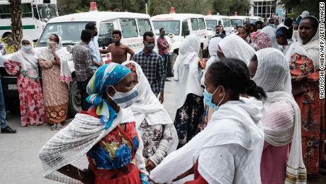 Relatives of Togoga residents wait for information at the Ayder referral hospital in Mekelle last week.