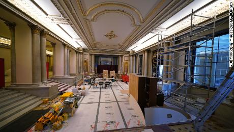 The scene in the Grand Entrance Hall amid building work.