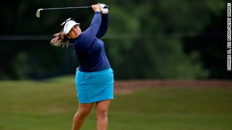 Salas plays her second shot on the ninth hole during the first round of the KPMG Women's PGA Championship.