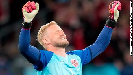 Kasper Schmeichel celebrates after Denmark's 4-1 victory over Russia.