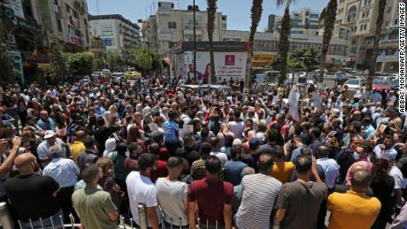 Palestinian protesters gather during a demonstration calling for Palestinian President Mahmoud Abbas  to quit in Ramallah.