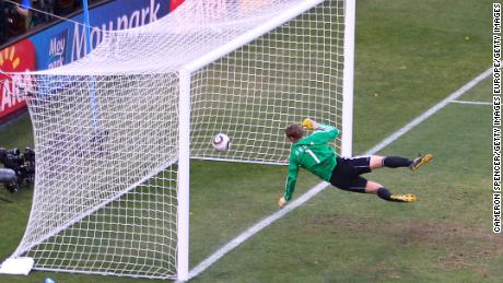 Manuel Neuer watches the ball bounce over the line from a shot that hit the crossbar from Frank Lampard in 2010.