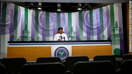 Williams attends a press conference in the main interview room at Wimbledon.