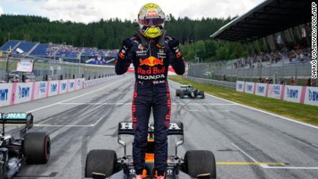 Verstappen celebrates after winning the Styrian Grand Prix.