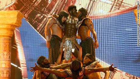 Lil Nas X performs Sunday at the BET Awards 2021 at Microsoft Theater in Los Angeles.