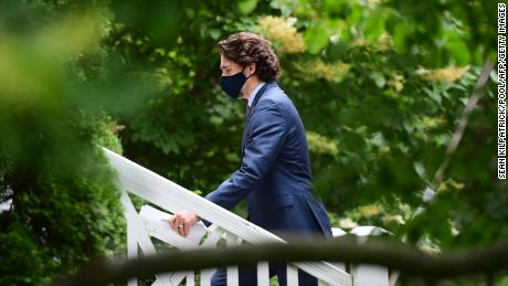 Canadian Prime Minister Justin Trudeau is seen after a June 25 news conference where he acknowledged the unmarked graves recently discovered at former residential school sites. Trudeau said this Canada Day should be a time of reflection.