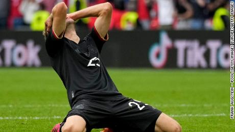 Germany's Thomas Mueller reacts after a missed chance during the UEFA Euro 2020 Championship Round of 16 match between England and Germany.