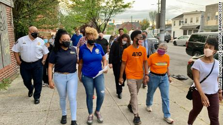 Left to right, Police Commissioner Michael Harrison; Councilwoman Phylicia Porter; Shantay Jackson, director of the Mayor's Office of Neighborhood Safety and Engagement; Mayor Brandon Scott; and Dr. Letitia Dzirasa, Health Commissioner.