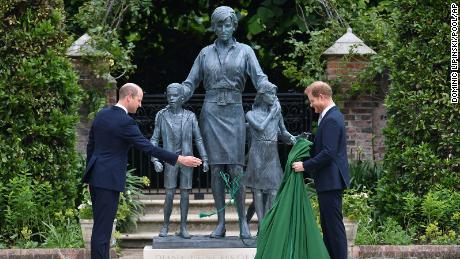 William and Harry reunite at Diana statue unveiling