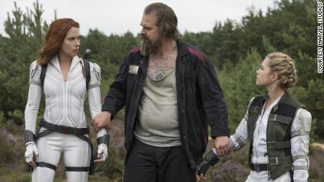 Scarlett Johansson, David Harbor and Florence Pugh in Marvel's 'Black Widow.'