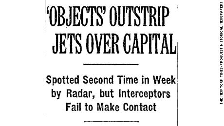 A New York Times headline from July 28, 1952, describes sightings over Washington, DC.
