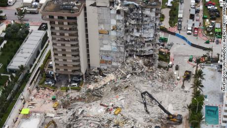 An aerial view of the site during a rescue operation of the Champlain Tower partially collapsed in Surfside, Florida.