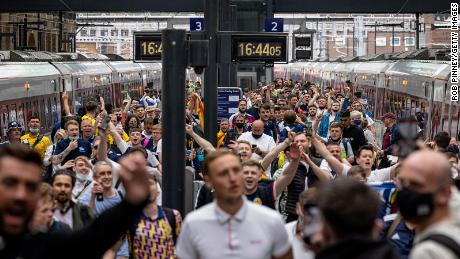 Scotland fans arrive at King's Cross Station in London ahead of its game against England.