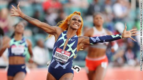 Richardson celebrates winning the 100m final at the US Olympic trials.