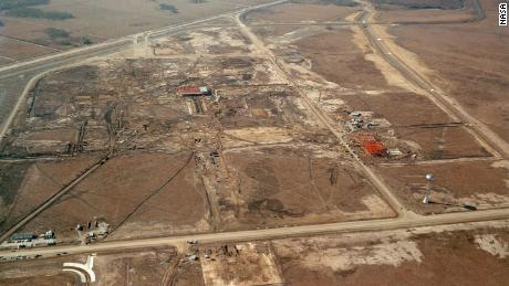 An aerial view of the construction site for the Manned Spacecraft Center (which would eventually be renamed Johnson Space Center), in the Clear Lake area outside Houston, Texas, 1963.