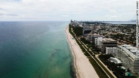 An aerial view of Surfside Beach is seen in Miami, Florida, United States on July 1, 2021.