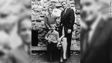 Armstrong family portrait, featuring dad Neil, mom Janet, and sons Rick (left, standing) and Mark, from July 1969.