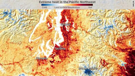 NASA imagery shows the land surface temperature across Washington state on June 25, 2021.